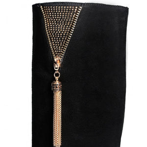 Knee High Boots Metal Tassel Zipper High Heels Women Shoes