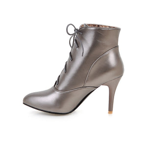 Ankle Boots for Women Lace Up Spike Heel High Heels Autumn Winter Pointed Toe Shoes Woman 4766