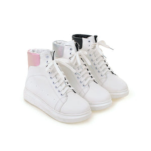 Women Ankle Boots Sneaker Lace Up Platform Shoes Woman 7585