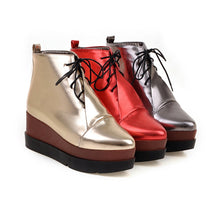 Load image into Gallery viewer, Lace Up High Heels Wedges Platform Boots Women Shoes 7596404