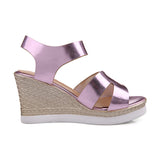 PU Leather Women Wedges Sandals Platform High-heeled Shoes