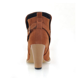 Artificial Suede Ankle Boots Buckle High Heels Shoes Woman 3335
