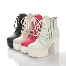 Load image into Gallery viewer, Fashion New 2016 Women Boots Shoes Chunky Heel Pumps Lace Up High Heels 3076