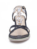 Summer Rhinestone Sandals Pumps T Straps High-heeled Shoes Woman