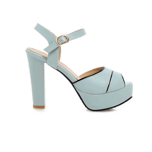 Ankle Straps Platform Sandals Peep Toes Women Pumps High Heels Shoes Woman