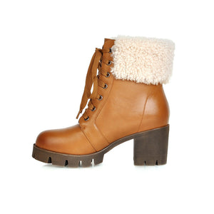 Fur Snow Boots High Heels Women Shoes Winter 1601