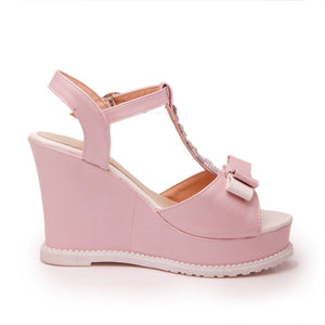 Fashion High Heels Wedges Sandals Women Pumps Platform Shoes with Rhinestone 2843
