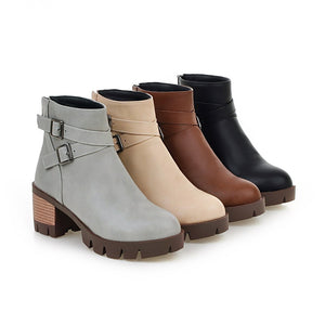 Buckle Round Toe Ankle Boots Thick Heel Back Zipper Women Shoes 76122333