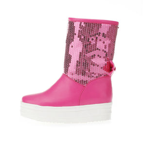 Sequined Women Snow Boots Winter Knot Platform Shoes Woman 2016 3476