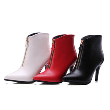 Load image into Gallery viewer, Pointed Toe Zipper High Heels Ankle Boots Spike Heel Women Shoes 76008606