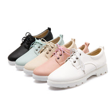 Load image into Gallery viewer, Round Toe Lace Up Loafers Casual Women Shoes