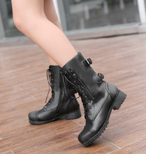 Load image into Gallery viewer, Lace Up Buckle Motorcycle Boots High Heels Women Shoes