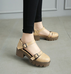 Women Sandals Belt Buckle Chunky Heel Pumps Platform High-heeled Shoes