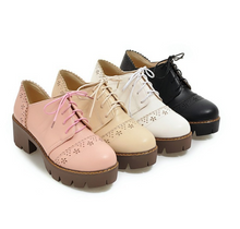 Load image into Gallery viewer, Round Toe Lace Up Platform High Heels Women Shoes