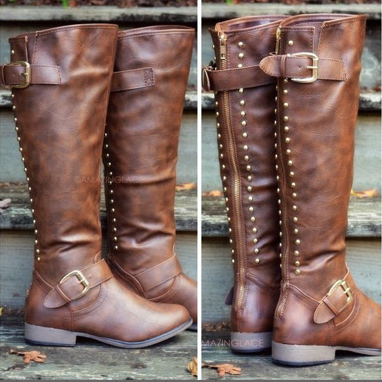 Flat Rivets Women's Knight Boots