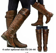 Load image into Gallery viewer, Flat Rivets Women's Knight Boots