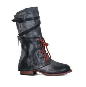 Women's Mid Calf Motorcycle Boots Low Heeled Knights Boots