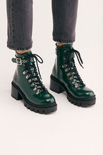 Load image into Gallery viewer, Women's Chunky Heeled Lace Up Ankle Motorbike Boots