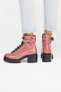 Women's Chunky Heeled Lace Up Ankle Motorbike Boots