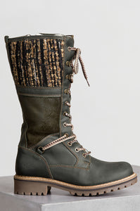 Women's Mid Calf Motorcycle Boots Lace Up