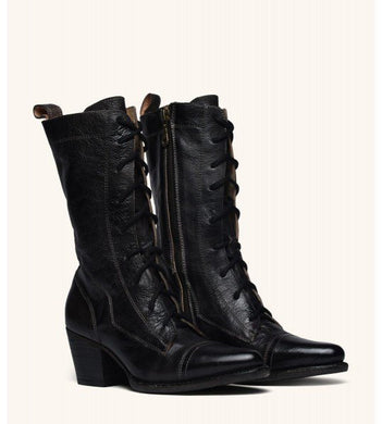 Women's Mid Calf Motorcycle Boots Wedges Heel