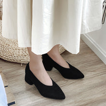 Load image into Gallery viewer, Women Dress Shoes Suede Chunky Heels Pumps