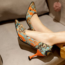 Load image into Gallery viewer, Floral Printed High Heel Shallow Mouth Women Pumps