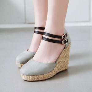 Women's Super High Heel Buckle Platform Wedge Sandals