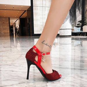 Women's Fish Mouth High Heel Buckle Belt Stiletto Heel Sandals