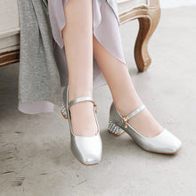 Load image into Gallery viewer, Square Head Buckle Shallow Mouth Women Chunky Middle Heels Pumps