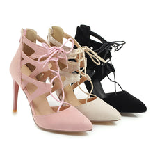 Load image into Gallery viewer, Women's Pointed Toe Hollow Stiletto Heel Sandals