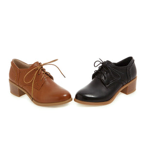 Lace Up Oxford Shoes Middle Heels Casual Women Chunky Heels