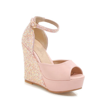 Women's Sequin Buckle Platform Wedges Sandals
