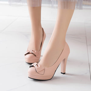 Bow Tie High Heels Platform Pumps