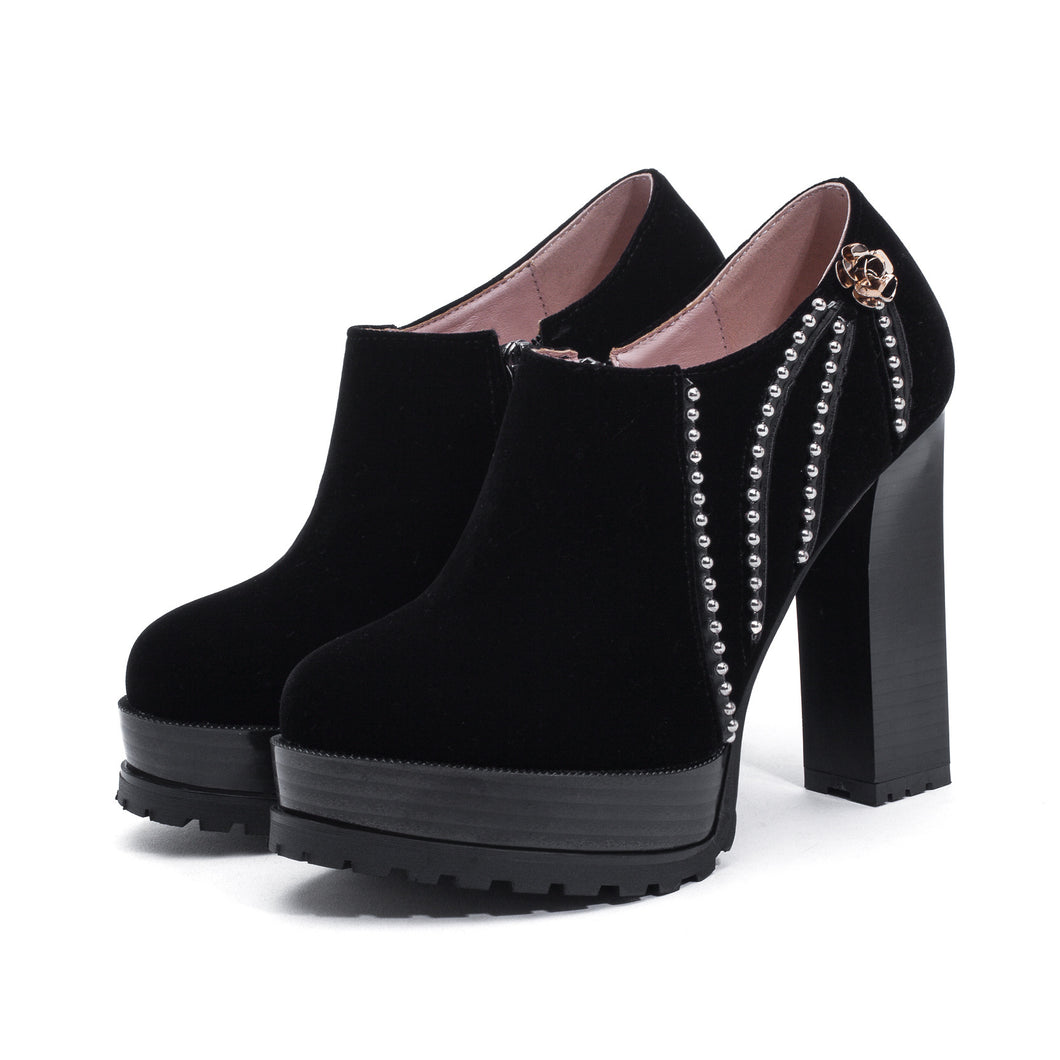 Super High Heel Thick Heel Studded Platform Shoes