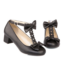 Load image into Gallery viewer, Sweet Butterfly-knotted Middle Heels Women Chunky Pumps Shoes