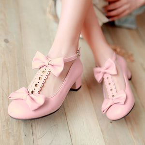 Sweet Butterfly-knotted Middle Heels Women Chunky Pumps Shoes