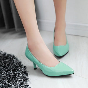 Pointed Toe Shallow-mouth Medium-heeled Women Pumps Stiletto Heels