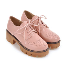 Load image into Gallery viewer, Square Toe Lace Up Platform Oxford Shoes