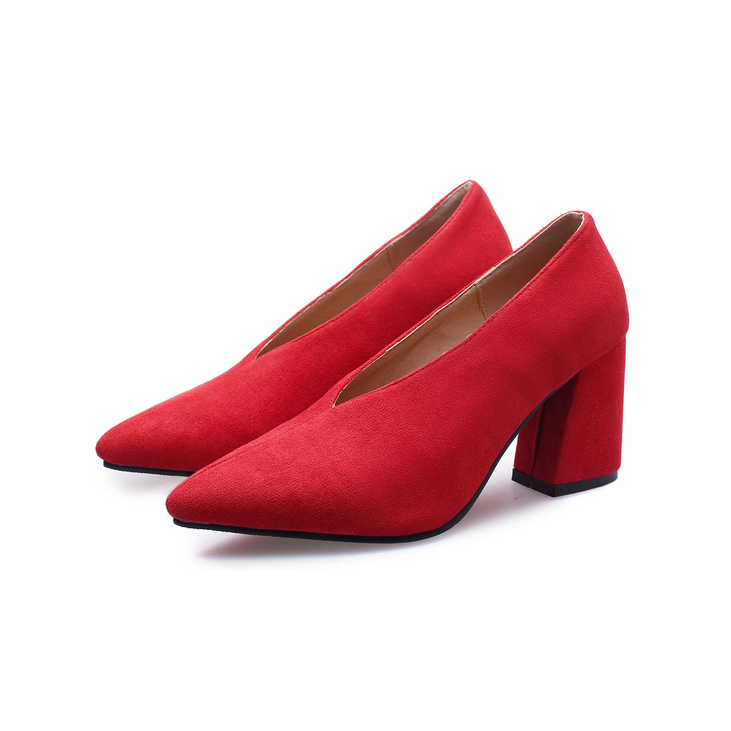 Thick High Heel Pointed Toe Women Pumps