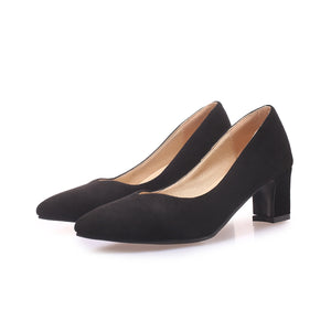 Shallow Mouth Pointed Toe Shoes Women Chunky Heels Pumps