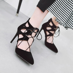 Women's Pointed Toe Hollow Stiletto Heel Sandals