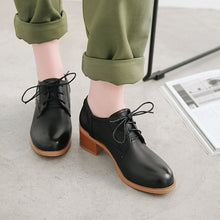 Load image into Gallery viewer, Lace Up Oxford Shoes Middle Heels Casual Women Chunky Heels