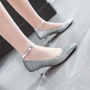 Shallow Mouth Pointed Toe Ankle Strap Women Stiletto Heel Pumps