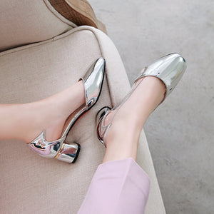Square Head Shallow Mouth Single Shoe Women Chunky Pumps