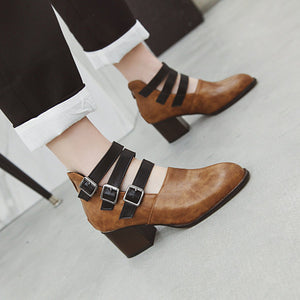 Buckle Chunky Heel Pumps