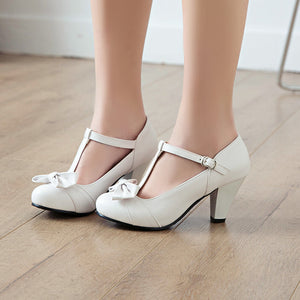 Spring Autumn Round Head Sweet Bow Middle Heel Women Chunky Heels Pumps