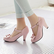 Load image into Gallery viewer, Spring Autumn Round Head Sweet Bow Middle Heel Women Chunky Heels Pumps