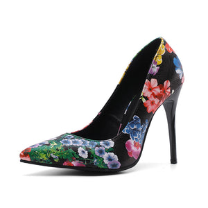 Floral Printed Super High-heeled Stiletto Heel Pumps