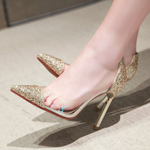 Load image into Gallery viewer, Stiletto Heel Sequined Wedding Shoes Transparent Women Pumps